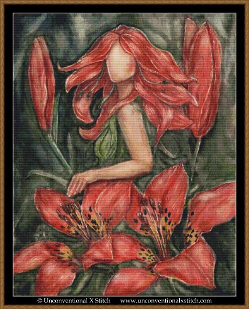 Wood Lily Goddess cross stitch pattern