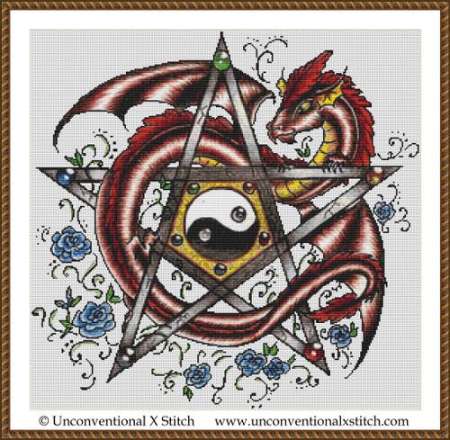 Pentagram Dragon cross stitch pattern