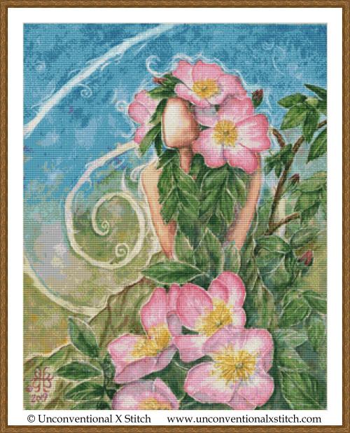 Prairie Rose Goddess cross stitch pattern