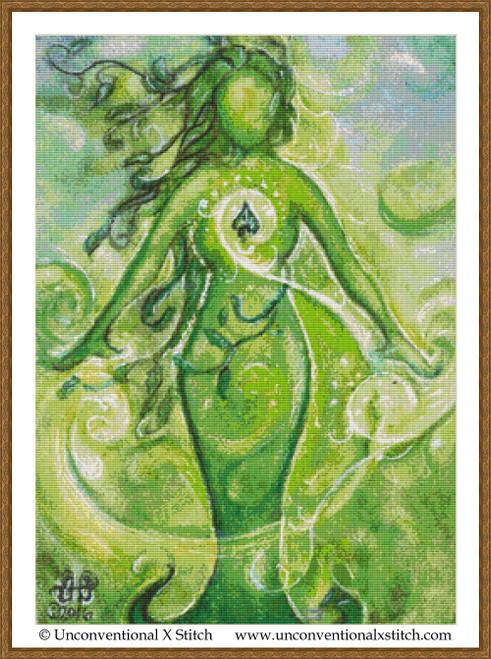 Green Goddess cross stitch pattern
