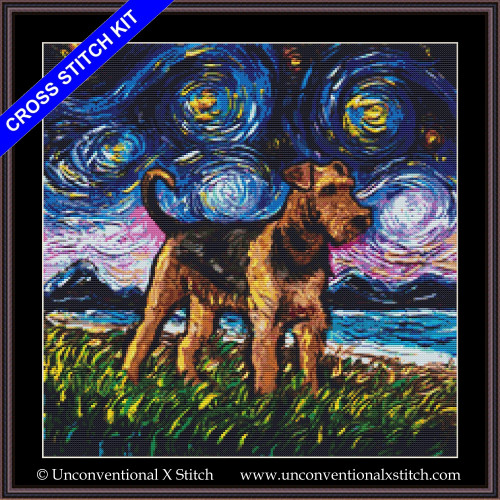 Airedale Terrier Night cross stitch kit