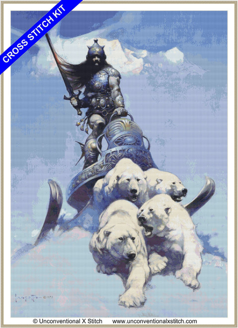 Silver Warrior  extract cross stitch kit
