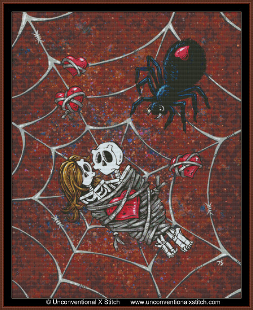 Caught in your Web cross stitch pattern