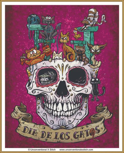 Dia De Los Gato cross stitch pattern