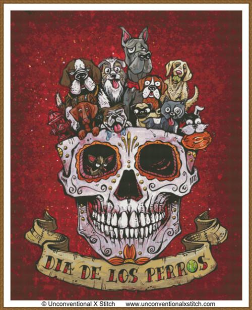 Dia De Los Perros cross stitch pattern