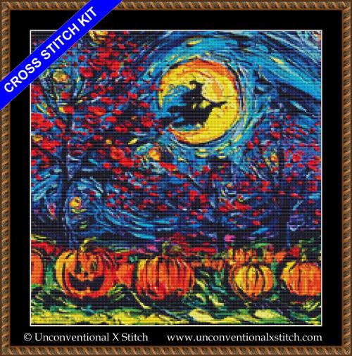 Starry Halloween cross stitch kit