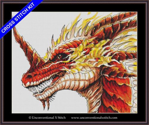 Red Dragon cross stitch kit