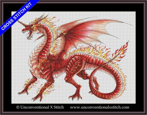 Flame Dragon cross stitch kit