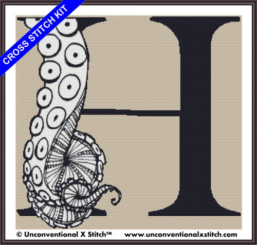 Tentacle Alphabet Letter H cross stitch kit