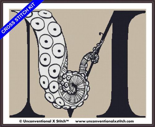 Tentacle Alphabet Letter M cross stitch kit