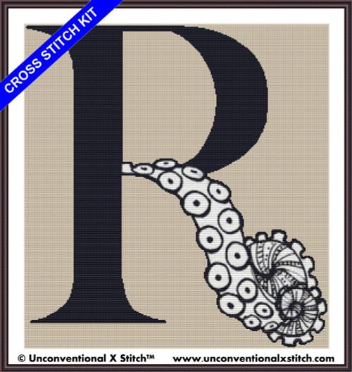 Tentacle Alphabet Letter R cross stitch kit