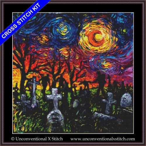 Starry Night of the Living Dead cross stitch kit