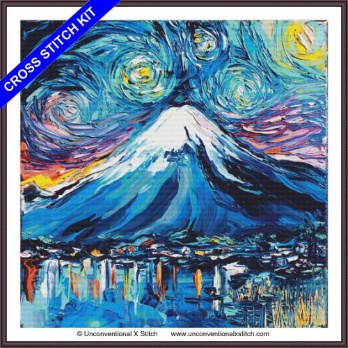 Van Gogh Never Saw Mount Fuji (XL edition) cross stitch kit