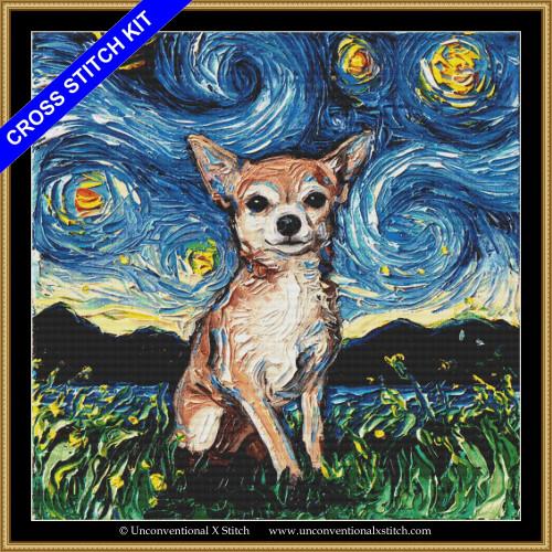 Chihuahua Night (XL edition) cross stitch kit