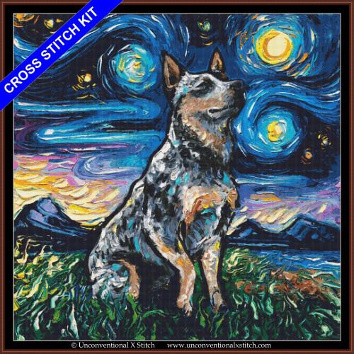 Blue Heeler Night (XL edition) cross stitch kit