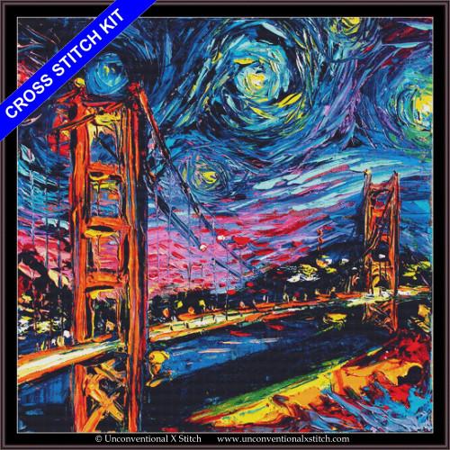 Van Gogh Never Saw Golden Gate (XL edition) cross stitch kit