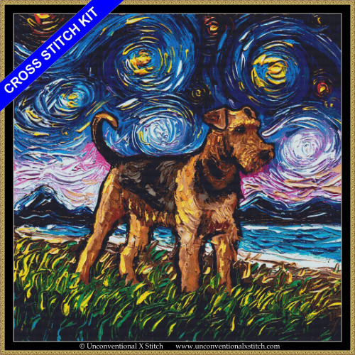 Airedale Terrier Night (XL edition) cross stitch kit