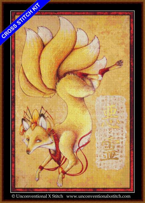 Kitsune cross stitch kit