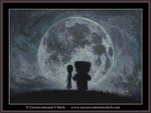 In My Dreams You Always Bring Me to the Moon cross stitch pattern