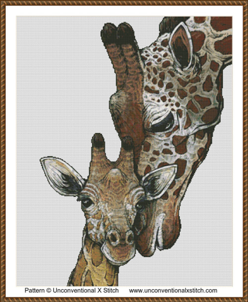 Mommy and Me cross stitch pattern (background removed edition)