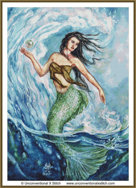 Water Mother Goddess cross stitch pattern