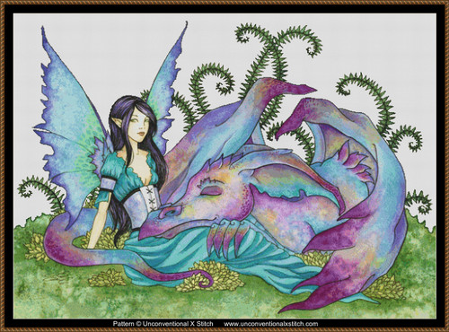 Let Sleeping Dragons Lie (background removed edition) cross stitch pattern