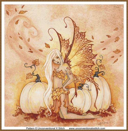 White Pumpkins cross stitch pattern