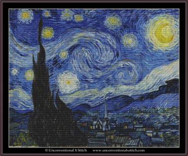modern counted cross stitch sampler design easy simple landscape cross stitch chart Cross stitch patterns pdf home wall decor DIY. Starry Night Vincent Van Gogh