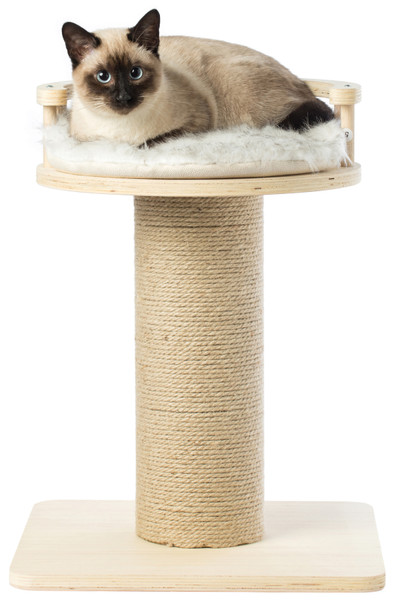 Wooden Cat Sisal Scratching Post Tree Tower with Seat Pet Bed Lounge