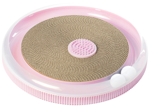 Pink 4 in 1 Interactive Round Cat Scratcher, Lounge, Toy and Brush