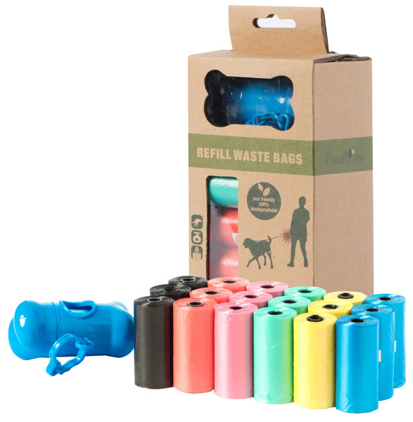 Biodegradable Colorful Unscented Pet Waste Bags with Dispenser and Leash Clip, Unscented Dog Poop Bags, 19 Refill Rolls, 380 Bag Count
