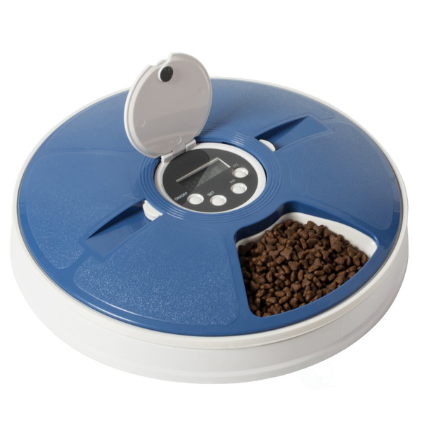 6-Meal Automatic Pet Feeder LCD Smart Programmable Time Setting Pet Dog Cat Food Compartment Dispenser
