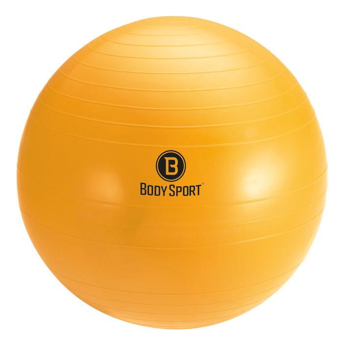 "BODY SPORT 65 CM (BODY HEIGHT 5'7"" - 6'1"") ANTI-BURST FITNESS BALL (EXERCISE BALL), YELLOW"