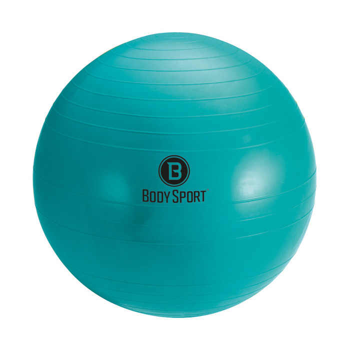 """BODY SPORT 85 CM (BODY HEIGHT 6'9"""" OR TALLER) FITNESS BALL (EXERCISE BALL), TEAL, INCLUDES PUMP, INSTRUCTIONS, ILLUSTRATED EXERCISE GUIDE, LATEX FREE"""