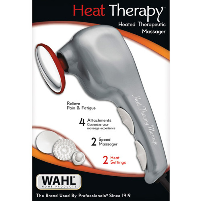 DELUXE HEAT THERAPY THERAPEUTIC MASSAGER, CORDED WITH 4 ATTACHMENT HEADS