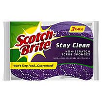 Scotch-Brite™ Stay Clean Non-Scratch Scrub Sponges, 4 1/2 inch; x 3 inch;, Lavender, Pack Of 3