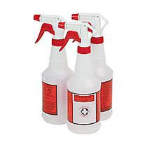Unisan Plastic Sprayer Bottles, 24 Oz, Translucent White, Pack Of 3
