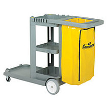 CMC Standard Janitorial Cleaning Cart, 38 inch;H x 19 3/4 inch;W x 56 inch;D, Grey