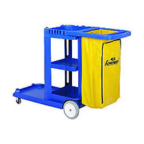 Continental Janitorial Cart With 25-Gallon Bag, 55 inch; x 30 inch; x 38 inch;, Blue/Yellow