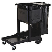 Rubbermaid; Executive Janitorial Cart, 22 1/2 inch; x 11 3/4 inch; x 34 1/2 inch;, Black
