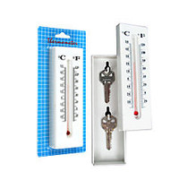 Trademark Global Home Collection Hide-A-Key Thermometer 2-Key Holder, 6 3/8 inch; x 2 inch; x 1 inch;, White