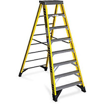 Werner 7308 8 ft Type IAA Fiberglass Step Ladder - 375 lb Load Capacity - 28.5 inch; x 96 inch; - Yellow, Silver