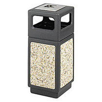 Safco; Canmeleon™ Stone Aggregate Panel Ash Urn, Side Opening, 15 Gallons, Black/Aggregate