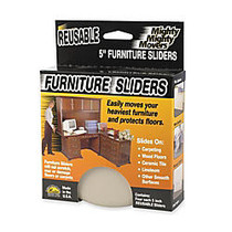 Master Caster Mighty Movers Furniture Sliders, 5 inch; Round, Beige, Pack Of 4