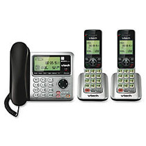 Vtech CS6649-2 2 Handset Corded/Cordless Answering System with CID/CW, Silver/Black