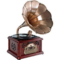 PyleHome Classical Trumpet Horn Turntable/Phonograph with AM/FM Radio CD/Cassette/USB & Direct to USB Recording