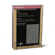 Versatel Contact Layer Dressings, 3 inch; x 4 inch;, Translucent, 10 Dressings Per Box, Case Of 5 Boxes