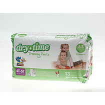DryTime Disposable Training Pants, X-Large, 4T - 5T, White, 13 Training Pants Per Bag, Case Of 8 Bags