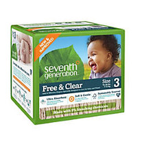 Seventh Generation; Free & Clear Diapers, Stage 3, 16-28 Lb, Brown, Pack Of 62