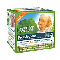 Seventh Generation; Free & Clear Diapers, Stage 4, 22-37 Lb, Brown, Pack Of 54